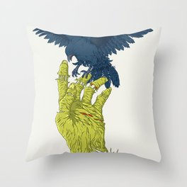 Corvo-papa-zumbi Throw Pillow