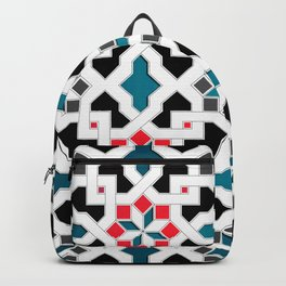 Oriental Pattern - Geometric Design, red / blue / grey Backpack