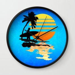 Surfing Sunrise Wall Clock