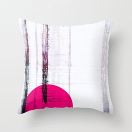 Pink Circle Straight Lines Abstract Black and White Throw Pillow