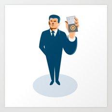 businessman secret agent showing id card badge wallet Art Print