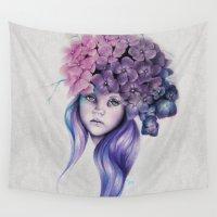 hydrangea Wall Tapestries featuring Hydrangea by Sheena Pike ART