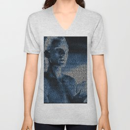 Text Portrait of Roy Batty with full script of the movie Blade Runner Unisex V-Neck