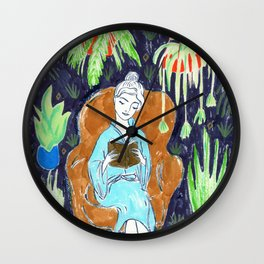 Jungle Reading Room Drawing by Amanda Laurel Atkins Wall Clock