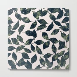 Abstract pink forest green mint leaves greenery Metal Print