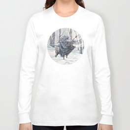Wizard Riding an Elk in the Snow Long Sleeve T-shirt