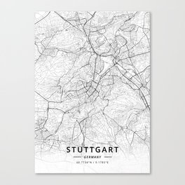 Stuttgart, Germany - Light Map Canvas Print