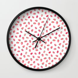 Strawberry Patch Watercolor Pattern Wall Clock