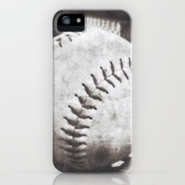 Softball on the Bench in Sepia iPhone Case