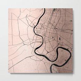 Bangkok Thailand Minimal Street Map - Rose Gold Pink and Black Metal Print