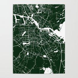 Amsterdam Green on White Street Map Poster