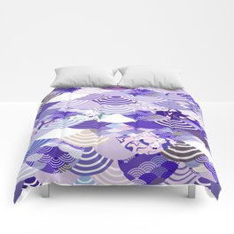 Nature background with japanese sakura flower, Cherry, wave circle. Ultra Violet Color of the Year Comforters