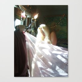 PHOTO OF LADYKASHMIR  SEMI NUDE GODDESS with pink vail Canvas Print