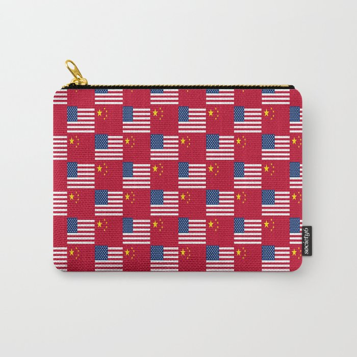 Mix of flag: usa and China Carry-All Pouch