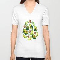 avocado V-neck T-shirts featuring Avocado Avocado by LiLaiRa