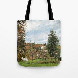 """Camille Pissarro """"Paysage avec cheval blanc dans un pré, L'Hermitage, Pontoise"""" Tote Bag"""