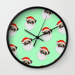 Santa Pugs Green Wall Clock