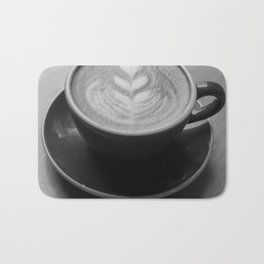 Cafe Heart - Black and White Bath Mat