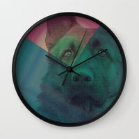 german shepherd Wall Clocks featuring German Shepherd by MOSAICOArteDigital