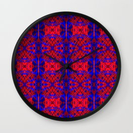 Red and Blue Fracture Wall Clock