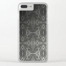 Black Gradient Floral Doodle Pattern Clear iPhone Case