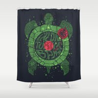 selena Shower Curtains featuring On Turtle BPM by Sitchko Igor