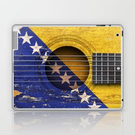 Old Vintage Acoustic Guitar with Bosnian Flag Laptop & iPad Skin