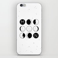 moon phases iPhone & iPod Skins featuring The Moon Phases by Mírë