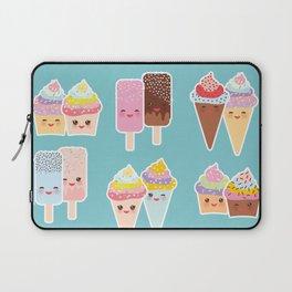 Kawaii cupcakes, ice cream in waffle cones, ice lolly Laptop Sleeve