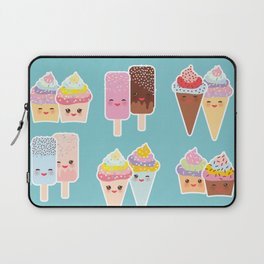 Kawaii cupcakes, ice cream in waffle cones, ice lolly Laptop Sleeve