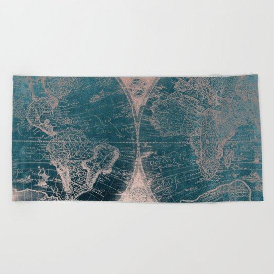 Antique Map Rose Gold Navy Blue Beach Towel