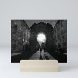 Rays of Sunlight through Roman Arches black and white photograph Mini Art Print