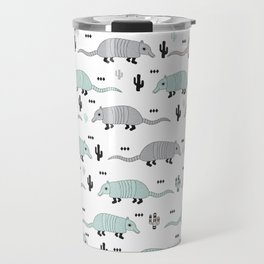 Cool western cactus desert Armadillo Animals illustration pattern Travel Mug