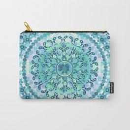 Aqua Mosaic Mandala Carry-All Pouch