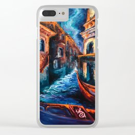"""Venice at Night"" Painting Clear iPhone Case"