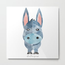 Water Colour Baby Donkey Metal Print