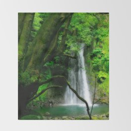 Waterfall in Azores islands Throw Blanket
