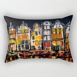 Amsterdam At Night Print Rectangular Pillow