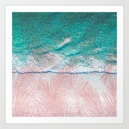 Turquoise blush pink tropical palm beach Art Print