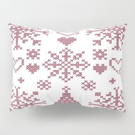 Christmas Cross Stitch Embroidery Sampler Pink And White Pillow Sham