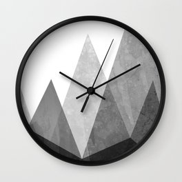 Mountains - Black and White Wall Clock