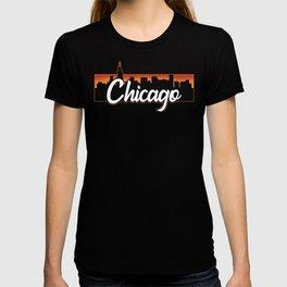 Vintage Chicago Illinois Sunset Skyline T-Shirt T-shirt