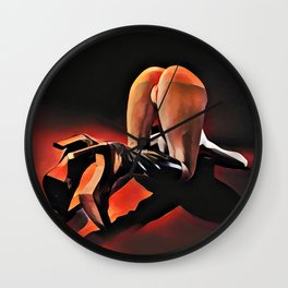 9572s-SYC Bottoms Up in Black High Heel Boots by Chris Maher Wall Clock