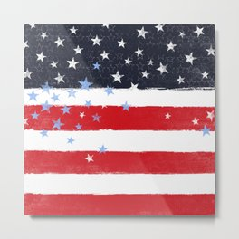 Patriotic Grunge Stars and Stripes Metal Print