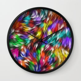 Fur From A Bright Colored Mythical Beast Wall Clock