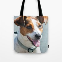jack russell Tote Bags featuring Jack Russell by Doug McRae