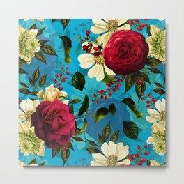 Vintage & Shabby Chic - Mystical Blue Rose Garden Metal Print