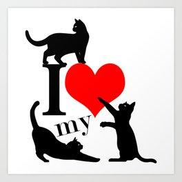 I Love My Cats - black red Art Print