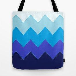 Blue Gradient Waves Tote Bag