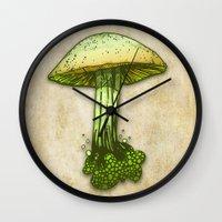 pie Wall Clocks featuring Poison Pie by KadetKat